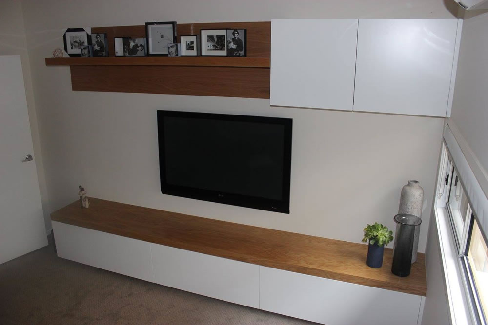 TV Unit White with Timber Top