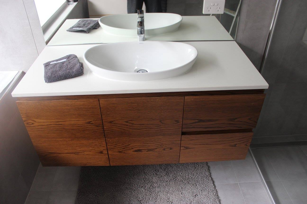 Timber Vanity with White Stone top