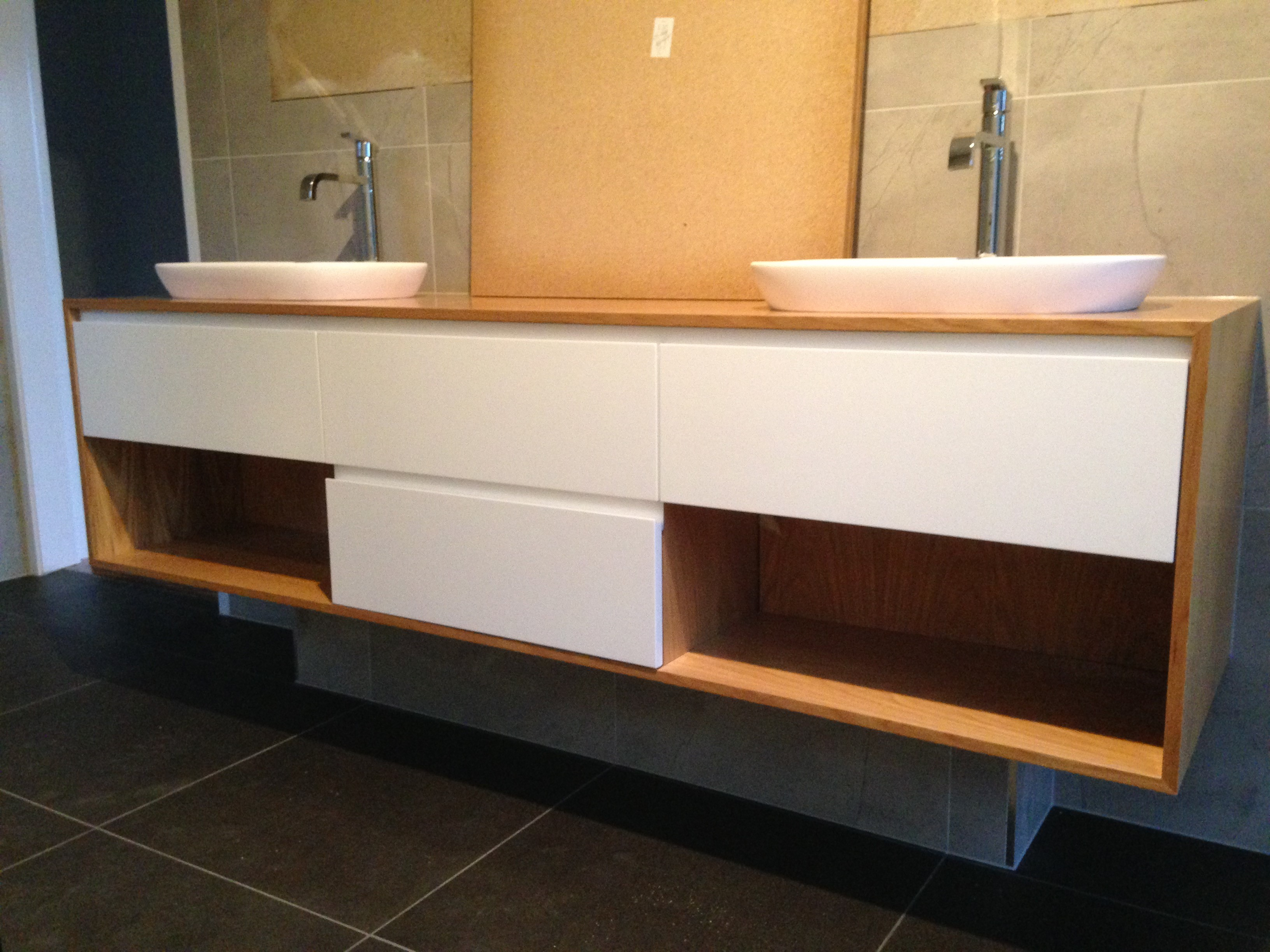 Timber and white Vanity two open shelves