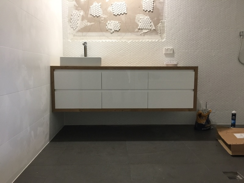 Timber wrapped white vanity