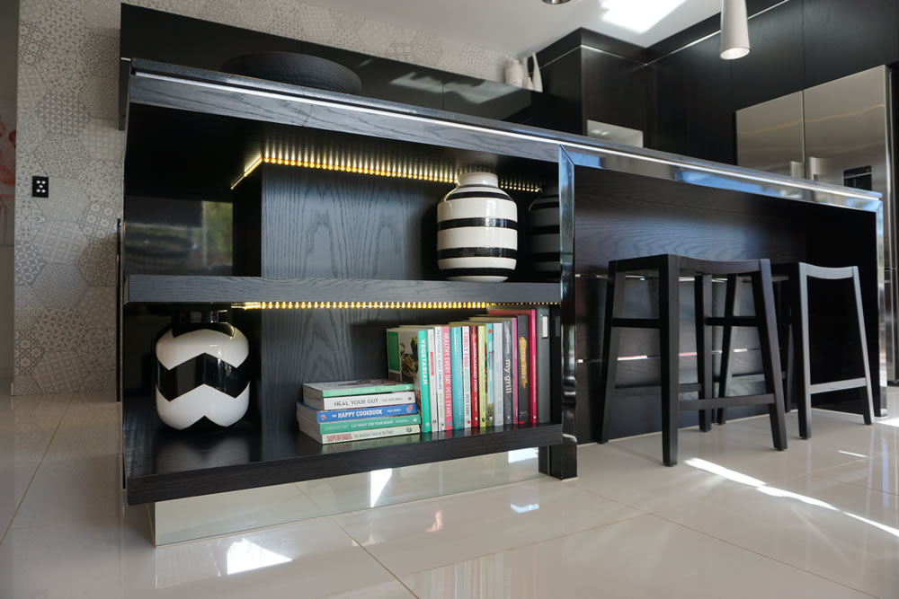 Ultra Modern Black on Black Kitchen with Silver detailing